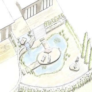 Garten-Skizze für die Planung